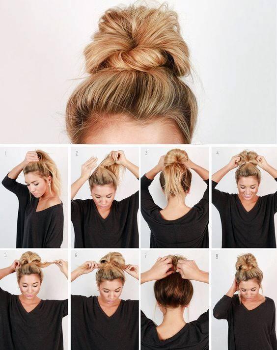 Как сделать растрепанный пучок на голове?