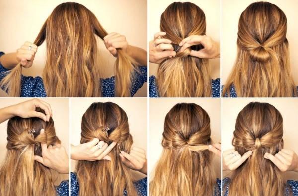 Как сделать бант из волос: пошаговая фото и видео инструкция