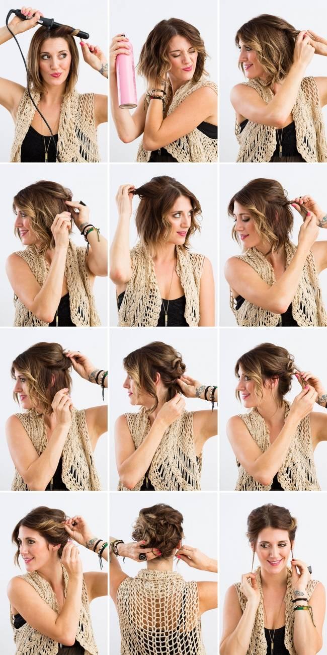Вечерние прически на средние волосы своими руками с пошаговым фото