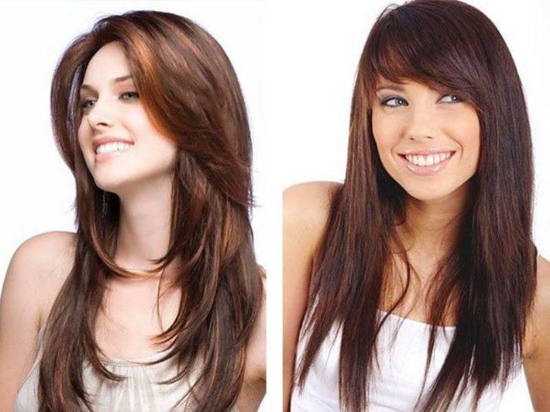 Стрижки на длинные волосы без челки фото